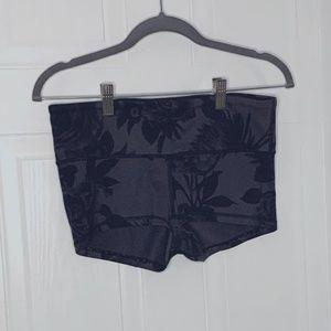 Black Floral Printed Lululemon Booty Shorts